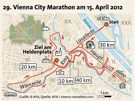 Карта марафонского забега в Вене